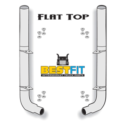 BestFit 6-5 X 108 Inch Chrome Exhaust Kit With Flat Top Stacks & OE Style Elbows