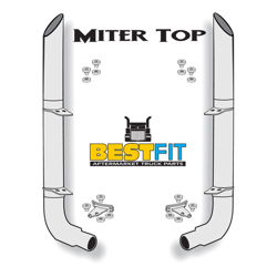 BF Exhaust Kit - 8x108 Miter Top - w/ Peterbilt Style Elbows