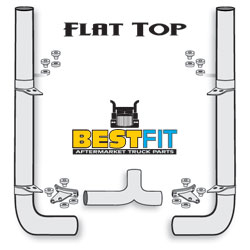BF Exhaust Kit - 8x114 Flat Top - Long 90 Elbow w/5 Inch Chrome Taper Lock T