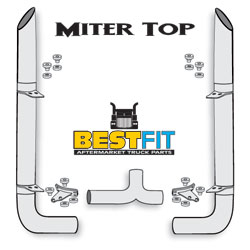 BF Exhaust Kit - 8x108 Miter Top - Long 90 Elbow w/8 Inch Chrome Taper Lock T