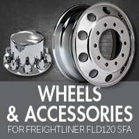 Freightliner FLD 120 Set Forward Axle Wheels, Hubcaps & Nut Covers