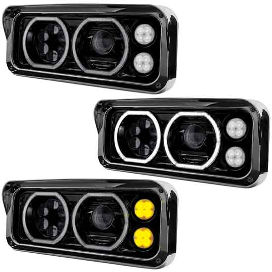 Blackout Dual Square LED Projection Headlight With Auxiliary Halo Rings &  Amber LED Turn Signal