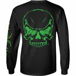 Diesel Life Green Skull Black Long Sleeve T-Shirt