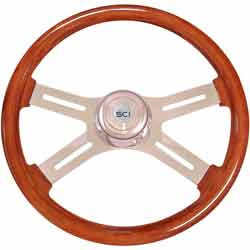 18 Inch Chrome 4 Spoke Polished Mahogany Classic Steering Wheel Kit With Chrome Bezel & Horn
