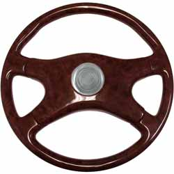 18 Inch 4 Spoke Dark Birdseye Printed Wood Steering Wheel Kit With Chrome Horn Button