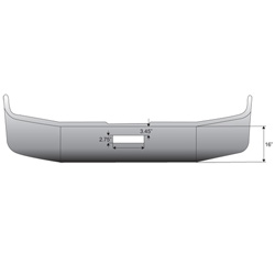 16 Inch Chrome Wrap Around Bumper Fits Freightliner FLD112, FLD120