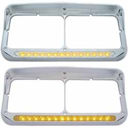 Chrome Dual Headlight Bezel With Visor, Amber LED Strip